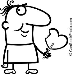 man wit valentine hearth lollipop cartoon - Black and White...