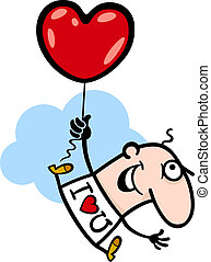 man wit valentine hearth balloon cartoon