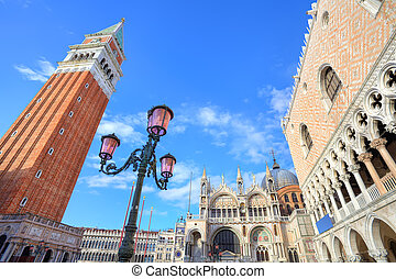 Campanile and Doges Palace in Venice, Italy - Traditional...