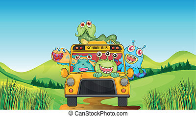 Smiling monsters and school bus - illustration of smiling...