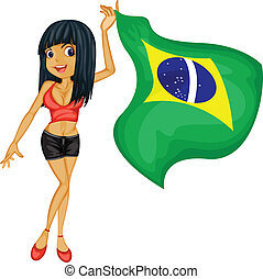 A smiling girl with a national flag of Brazil