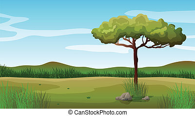 A tree and a beautiful landscape - Illustration of a tree...