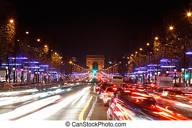 Avenue des Champs-lyses - December illumination and traffic...
