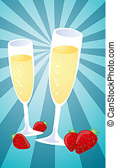Champagne and strawberries illustration - Romantic...