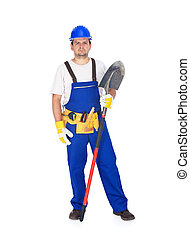 manual, construcción, trabajador, pala