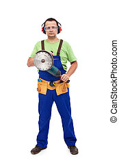 Worker with power tool