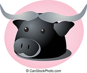 Bison cartoon - Cartoon head of a bison, cute animal...