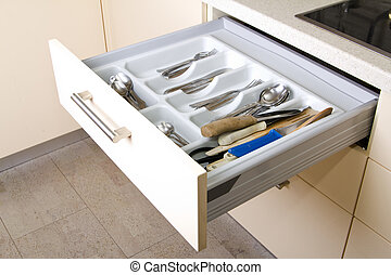 Organized Kitchen Drawer - Open Organized Kitchen Drawer...
