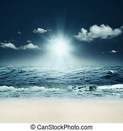 beau, résumé, Arrière-plans, conception, mer, marin, ton