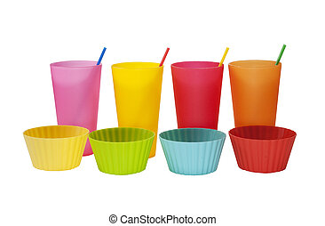 cups bowls and straws