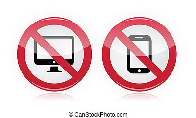 No computer, no mobile or cell sign