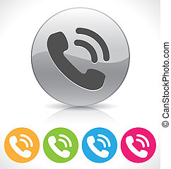 phone icon - silver shiny phone button on reflection plate/...
