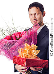 man with flowers and gift