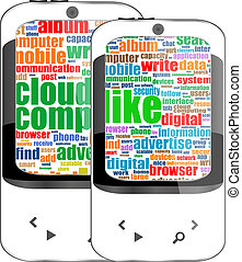 smartphone set with social word on display. Generic mobile smart phone