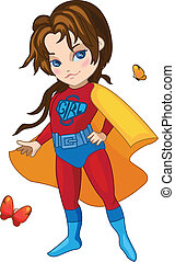 Super Girl vector illustration - Super Girl with butterflies...