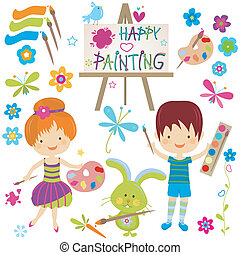 happy painting - happy little painters; girl and boy...