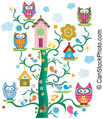 owl`s tree - colorful owl`s tree