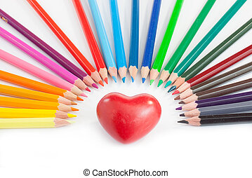 Heart and pencils - A red heart in a rainbow of colours