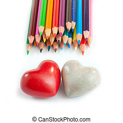 Two heart and a lot of colours - Two heart in the desk with...