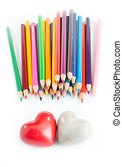 Two heart with crayons - A couple of heart with a lot of...