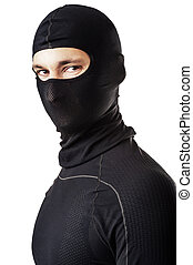 man in black ski mask - Young sexy man in black ski mask -...
