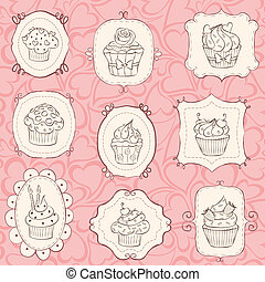 Cupcakes Set - Cupcake set with heart seamless pattern.