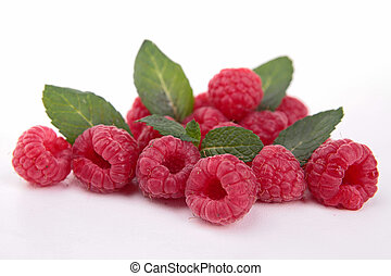 isolated raspberries