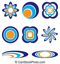 circular logo - collection of eight orange and blue...