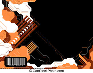 modern tech orange - Technical illustrated background with a...