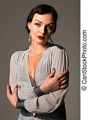 Ukrainian - Beautiful young Ukrainian woman vintage gray...