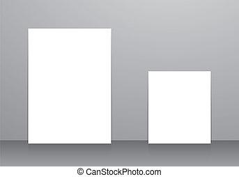 White frames sample empty on floor