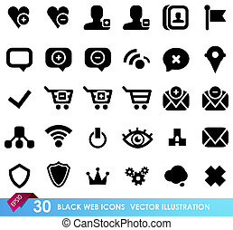 30 black web icons isolated on white. Vector illustration