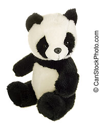 Black and White - Cute stuffed animal on white background