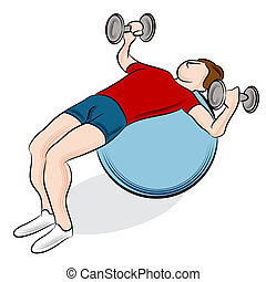 Fitness Ball Weight Exercise - An image of a man exercising...