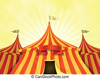 Big Top Circus Background With Banner - Illustration of...