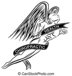 Flying Chiropractic Angel - An image of a superhero styled...