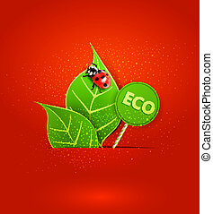 leafs and ladybird - vector red background with leafs and...