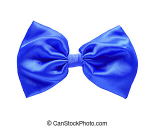Blue satin gift bow. Ribbon. Isolated on white with clipping...