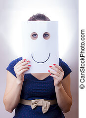 Businesswoman with sheet - An image of businesswoman holding...