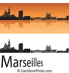 Marseilles skyline in orange background - Marseille sskyline...