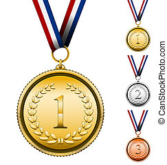 Award Medals - Vector Award Medals Set isolated on white...