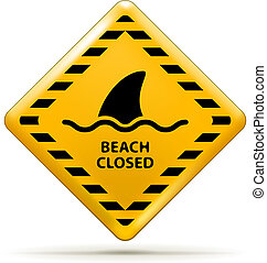 Beach Closed Sign - Vector Beach Closed Sign, Shark sighting...