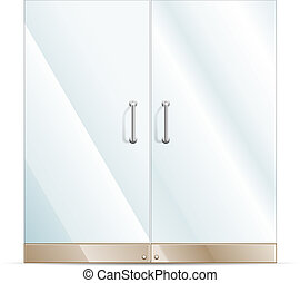 Glass door - Vector Transparent Glass door isolated on white...