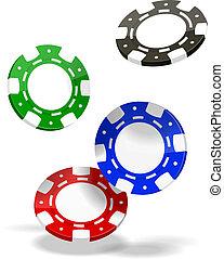 Poker Chips - Vector Poker Chips isolated on white...