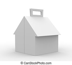 Packing box in the form of a house. Object over white