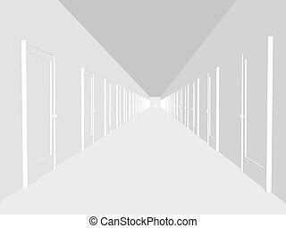 Abstract corridor with the closed doors - Abstract white...