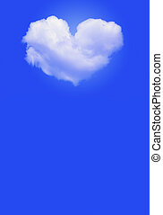 Heart shaped cloud - An image of heart shaped cloud on blue
