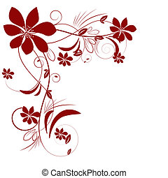 Abstract beautiful flowers creative design dark red