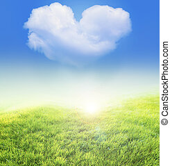 meadow nad heart shaped cloud - An image of meadow nad heart...