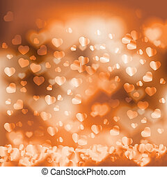 Shiny hearts falling romantic background bokeh light